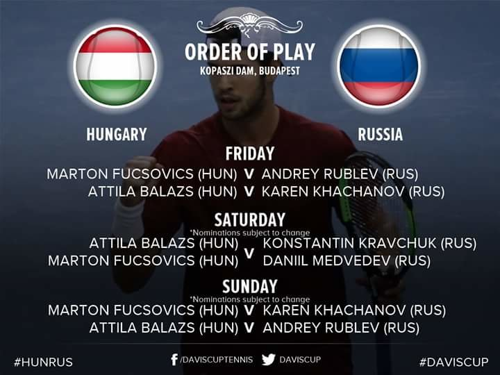 The official press conferences of Russian and Hungrian teams took place before the World Group play-off  tie at Davis Cup.